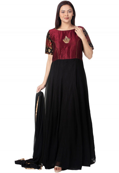 Embroidered Georgette Abaya Style Suit in Shaded Black and Maroon