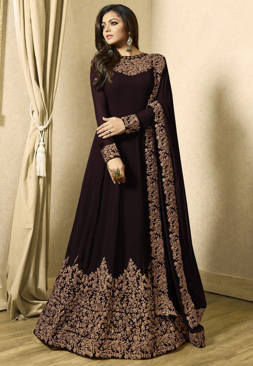 Embroidered Georgette Abaya Style Suit in Dark Brown