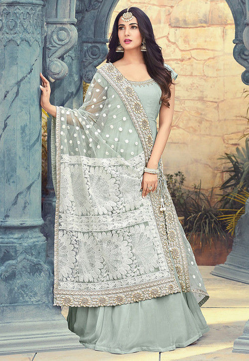 Embroidered Georgette Abaya Style Suit in Grey