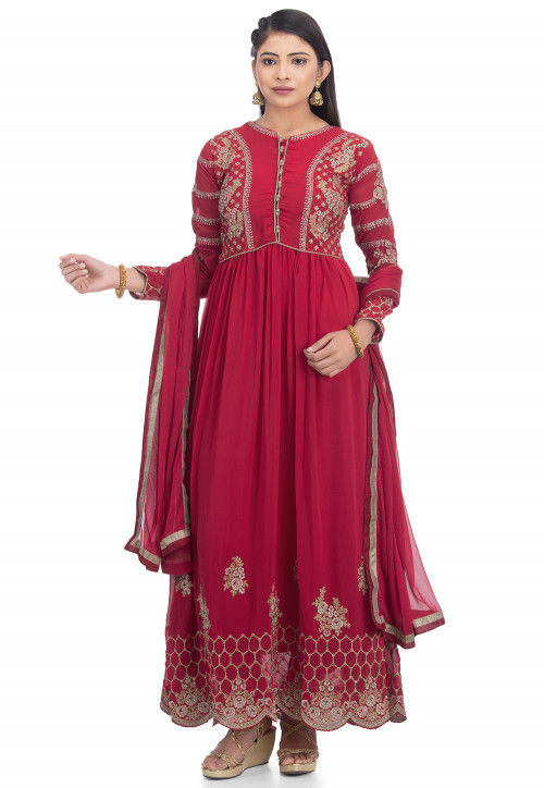 Embroidered Georgette Abaya Style Suit in Maroon