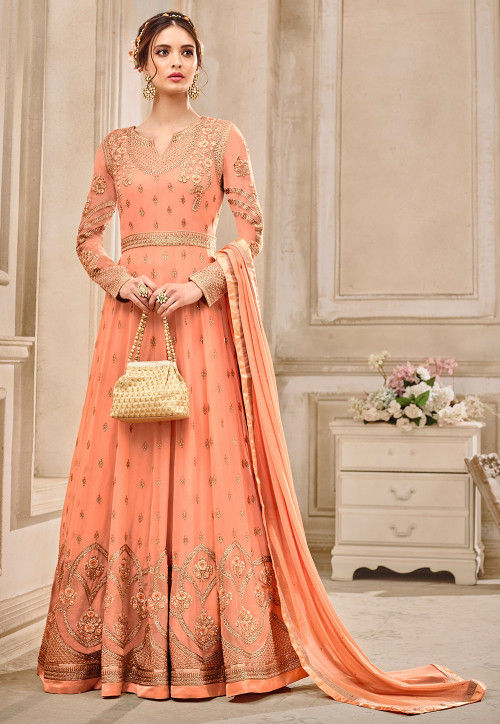 a80d47ff15 Embroidered Georgette Abaya Style Suit in Peach : KCH1018