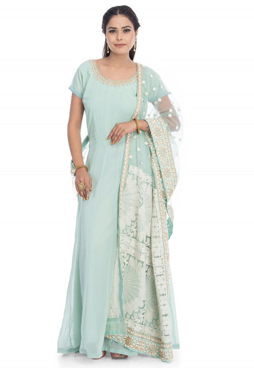 Embroidered Georgette Abaya Style Suit in Sky Blue