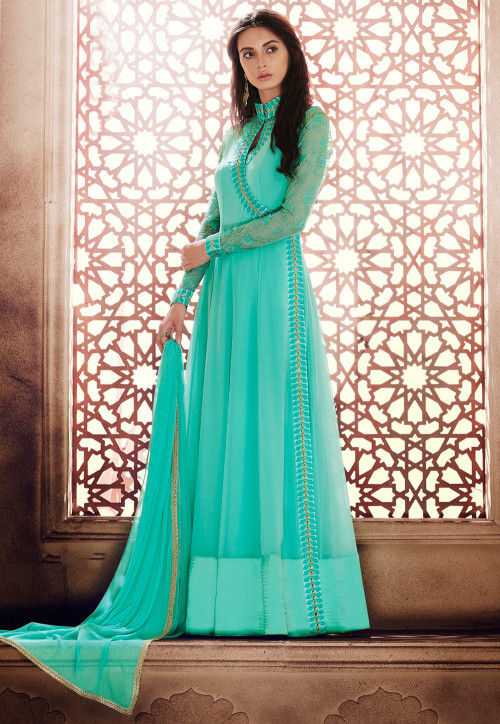 Embroidered Georgette Abaya Style Suit in Turquoise