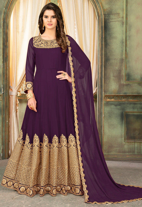 Embroidered Georgette Abaya Style Suit in Violet