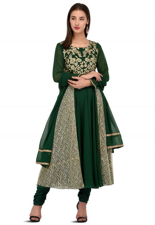 Embroidered Georgette Anarkali Suit in Dark Green and Beige