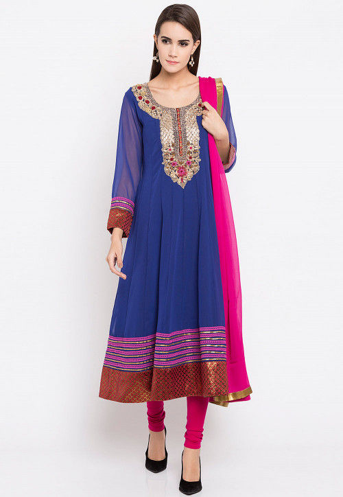 Embroidered Georgette Anarkali Suit in Royal Blue