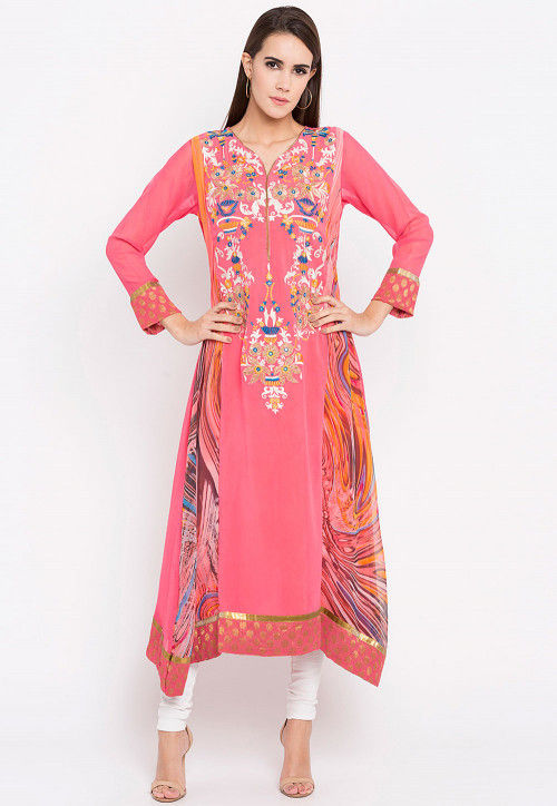 Embroidered Georgette Asymmetric Anarkali Kurta in Pink