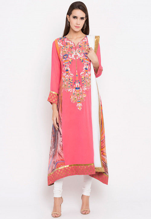 Embroidered Georgette Asymmetric Anarkali Suit in Pink