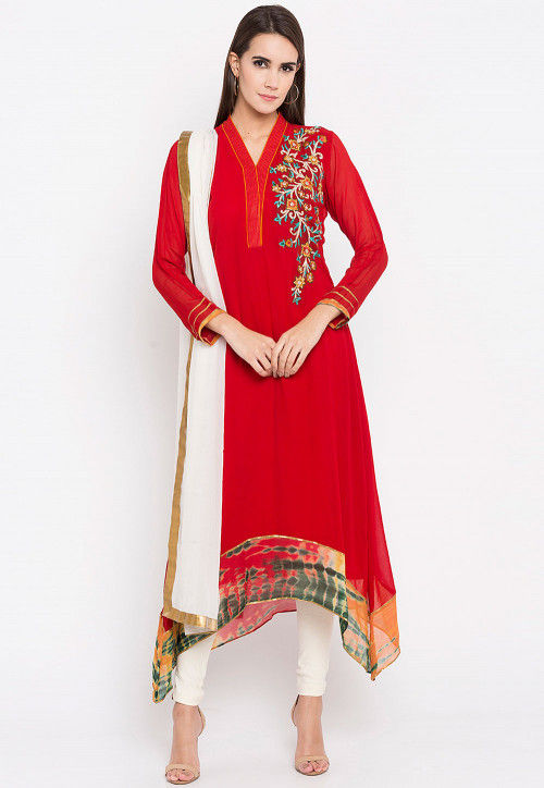 Embroidered Georgette Asymmetric Anarkali Suit in Red