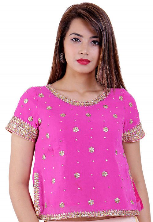 Embroidered Georgette Blouse in Pink