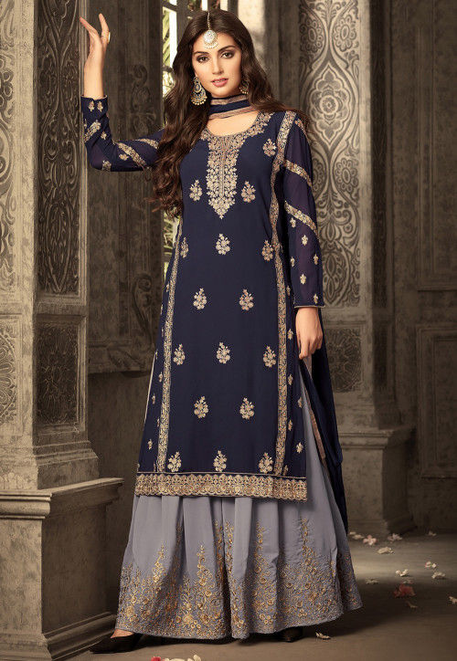 Embroidered Georgette Sharara Lehenga in Navy Blue
