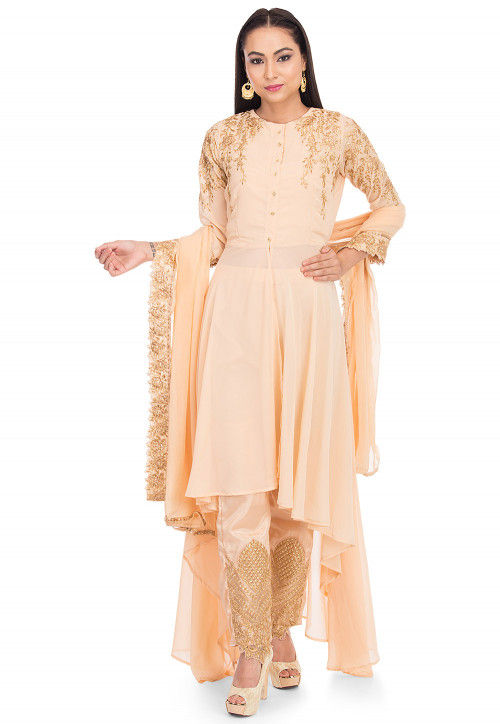 Embroidered Georgette Pakistani Suit in Light Peach