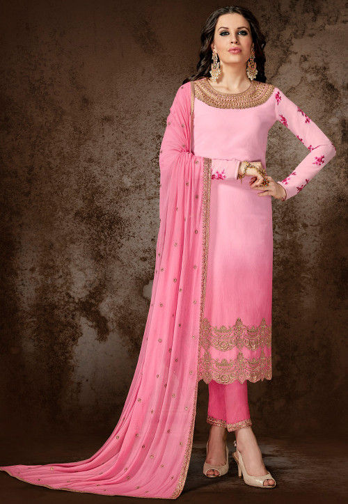 Embroidered Georgette Pakistani Suit in Shaded Pink