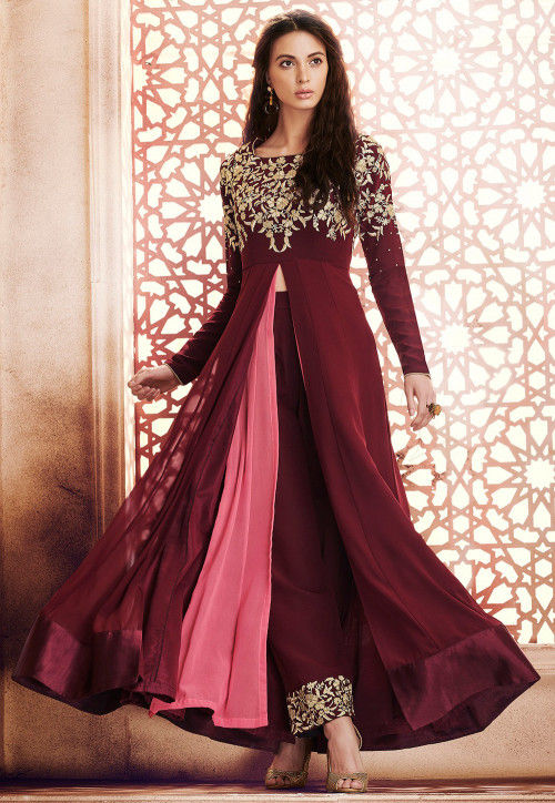 Embroidered Georgette Pakistani Suit in Maroon and Pink