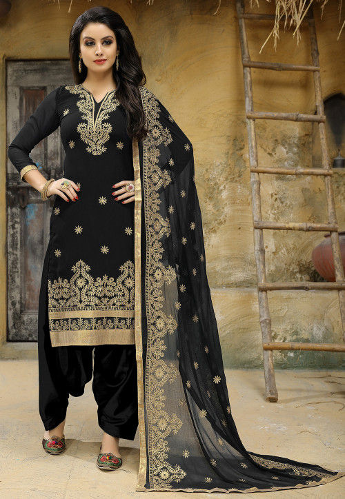 Embroidered Georgette Punjabi Suit in Black
