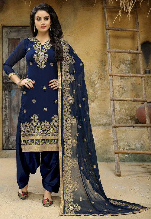Embroidered Georgette Punjabi Suit in Navy Blue