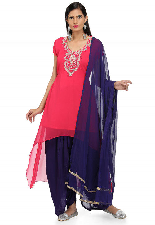 Embroidered Georgette Punjabi Suit in Pink