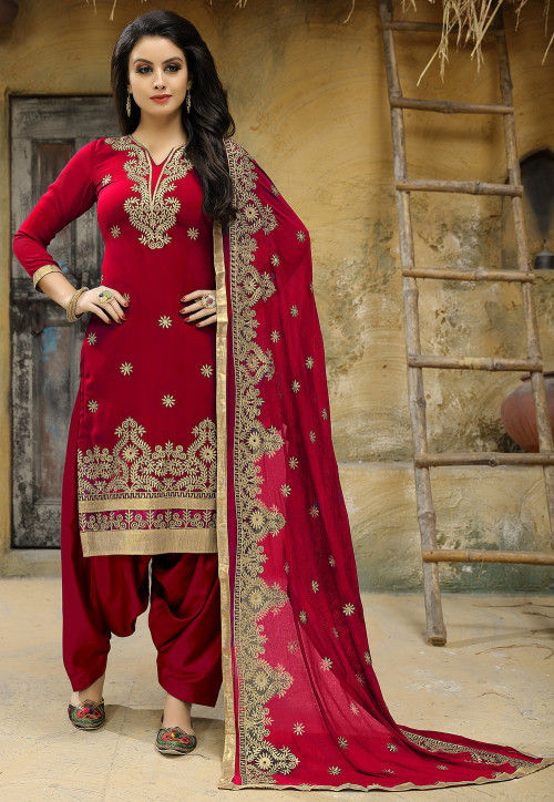 Embroidered Georgette Punjabi Suit in Red