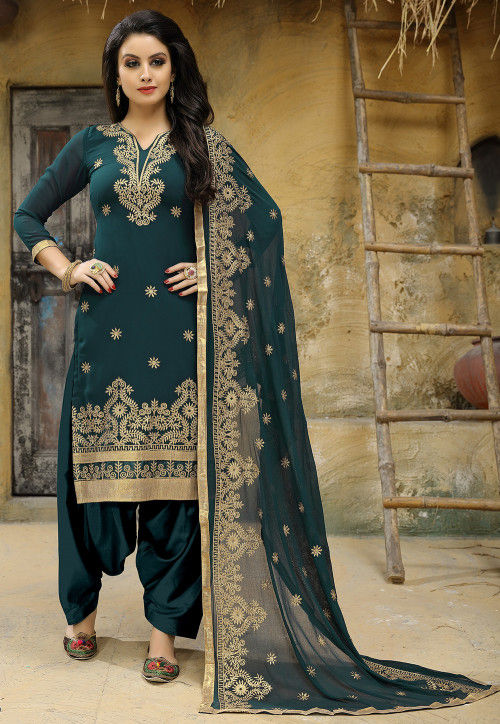 Embroidered Georgette Punjabi Suit in Teal Green