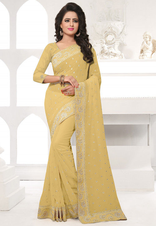 Embroidered Georgette Saree in Beige