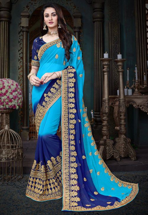 Embroidered Georgette Saree in Blue Ombre