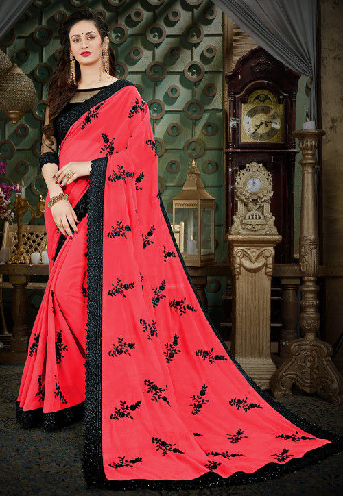 Embroidered Georgette Saree in Coral Red