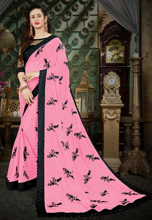Embroidered Georgette Saree in Light Pink