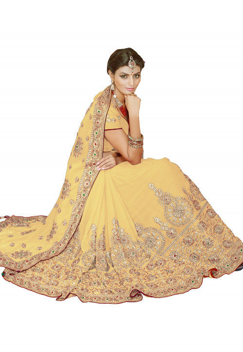 Embroidered Georgette Saree in Light Yellow