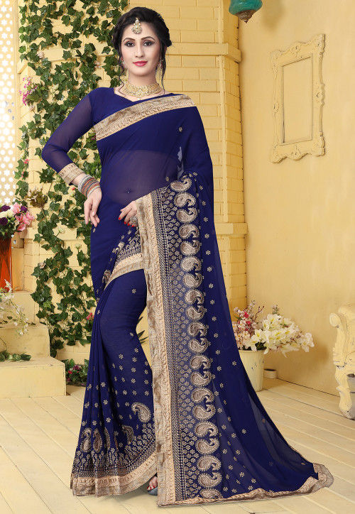 Embroidered Georgette Saree in Navy Blue