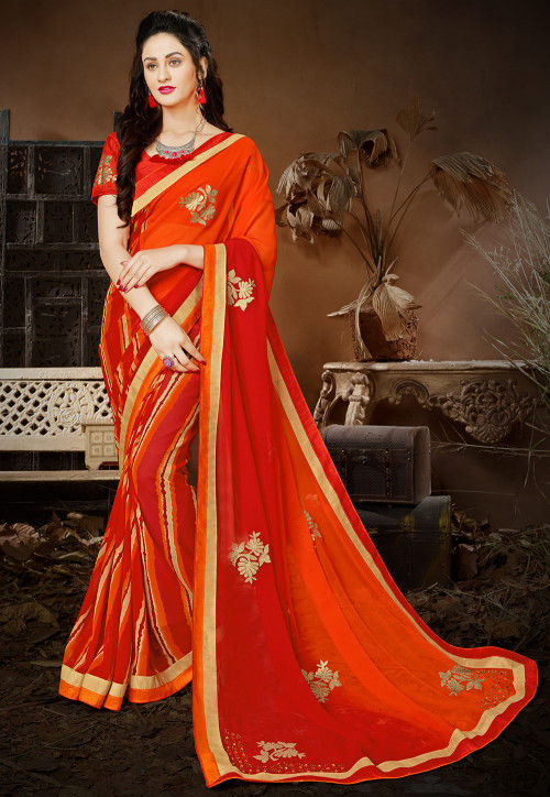 Embroidered Georgette Saree in Orange and Red Ombre