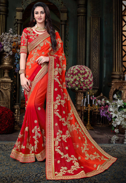 Embroidered Georgette Saree in Orange and Red