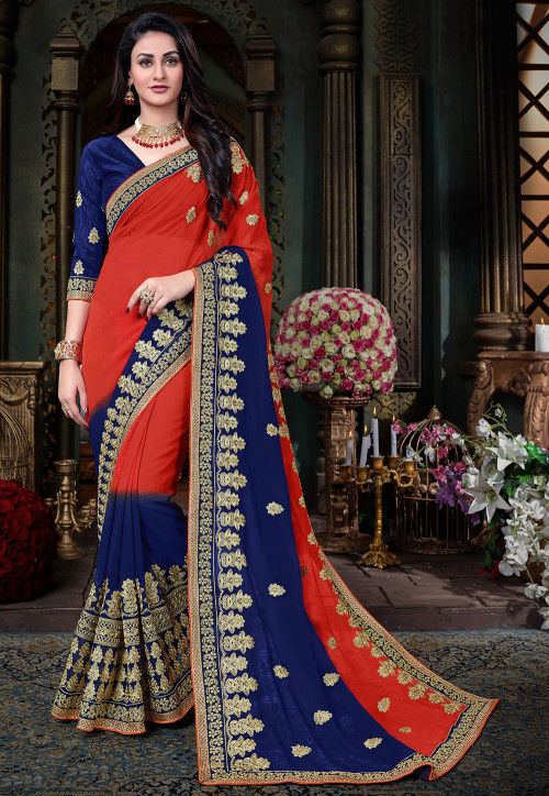 Embroidered Georgette Saree in Red and Blue