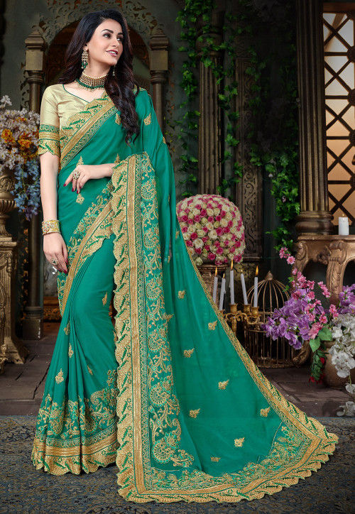 Embroidered Georgette Saree in Teal Green