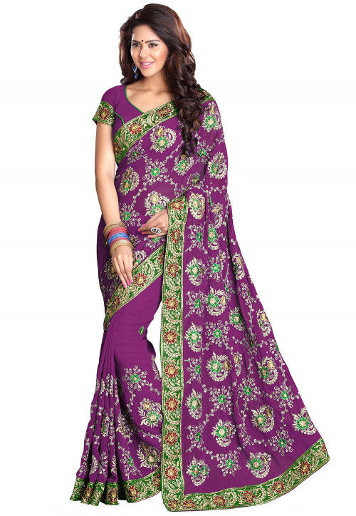 Embroidered Georgette Saree in Violet