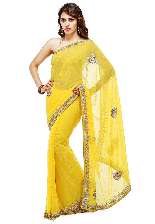 Embroidered Georgette Saree in Yellow