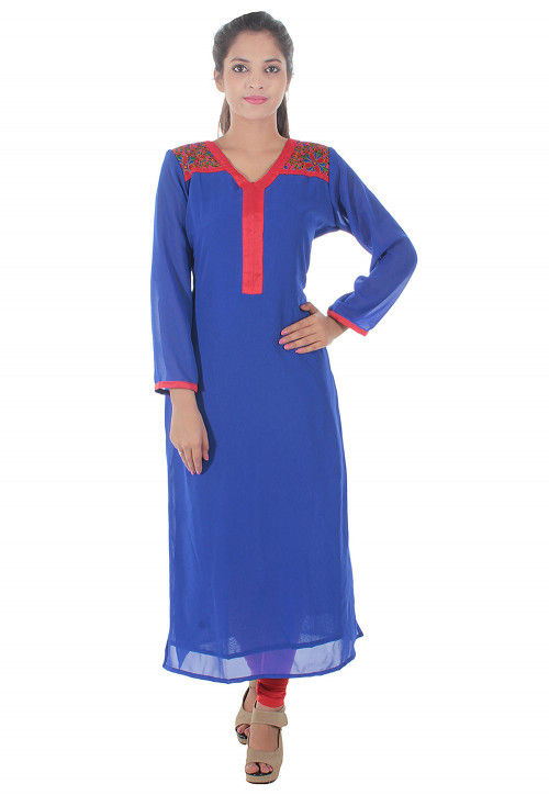 Embroidered Georgette Straight Kurta in Blue
