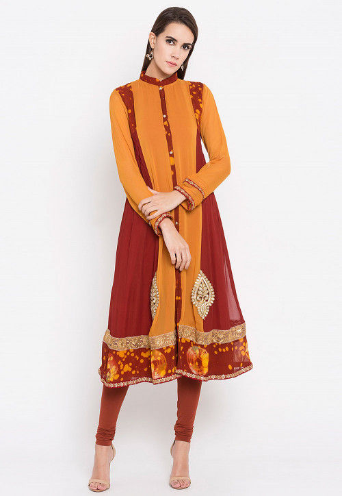 Embroidered Georgette Straight Kurta in Mustard and Brown