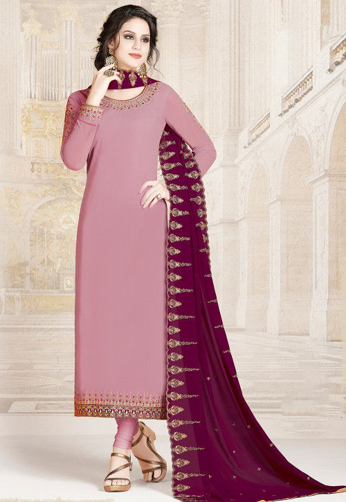 Embroidered Georgette Straight Suit in Baby Pink