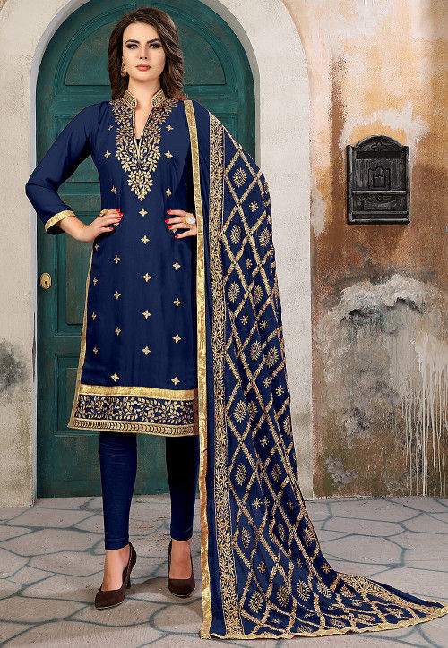 Embroidered Georgette Straight Suit in Navy Blue
