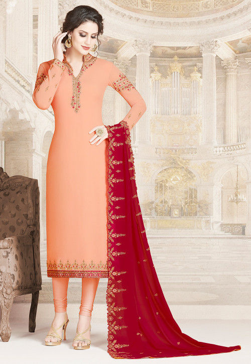 Embroidered Georgette Straight Suit in Peach