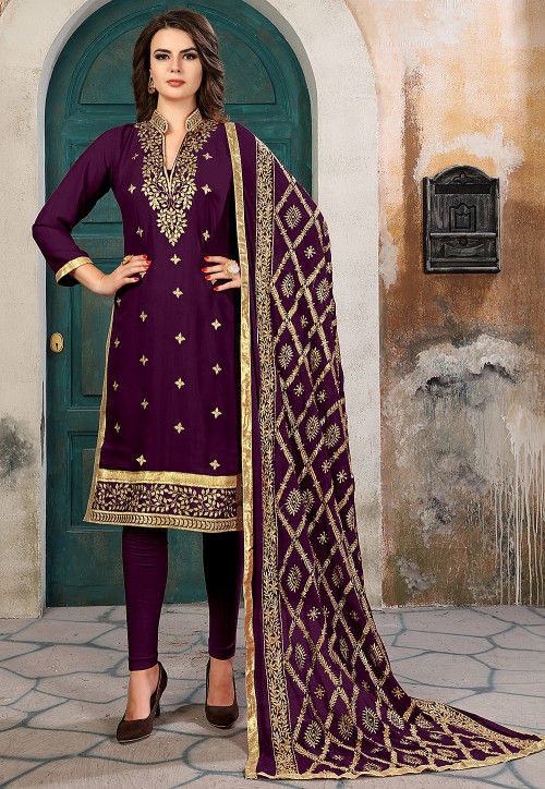Embroidered Georgette Straight Suit in Violet