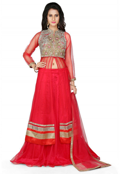 Embroidered Jacket Style Net Lehenga in Red