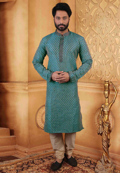 Embroidered Jute Silk Jacquard Kurta Set in Teal Green