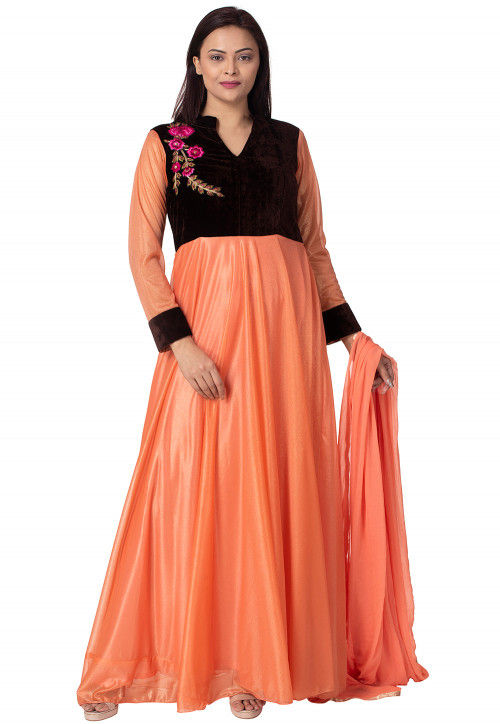 Embroidered Lycra Shimmer Abaya Style Suit in Peach and Black