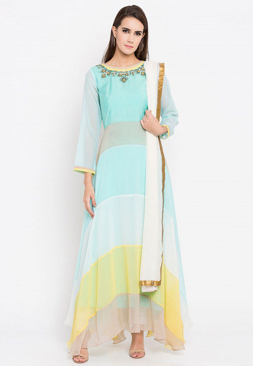 Embroidered Neckline Georgette Abaya Style Suit in Pastel Blue
