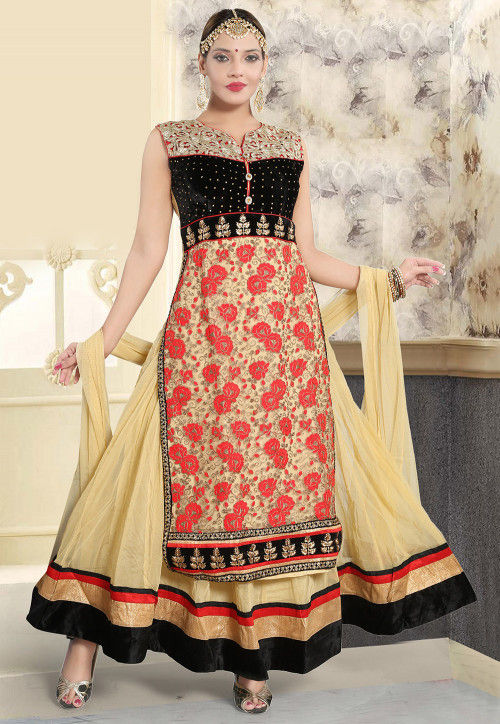 Embroidered Net Abaya Style Suit in Black and Beige