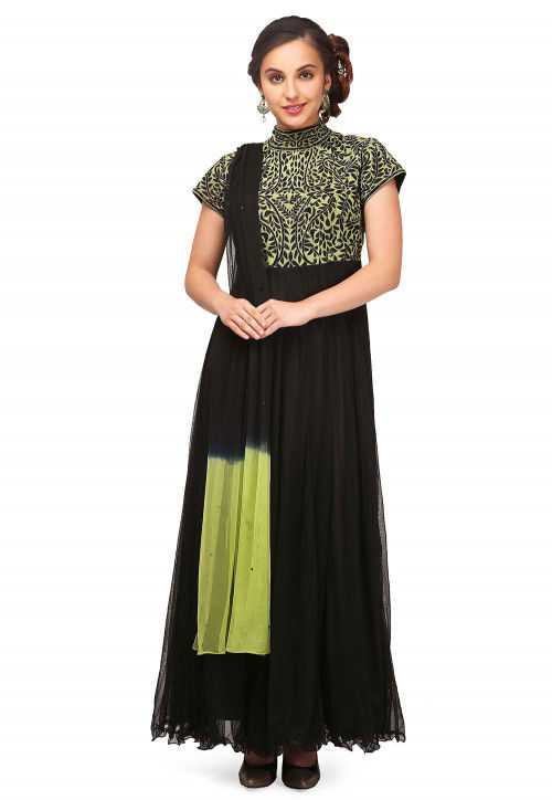 Embroidered Net Abaya Style Suit in Black and Green