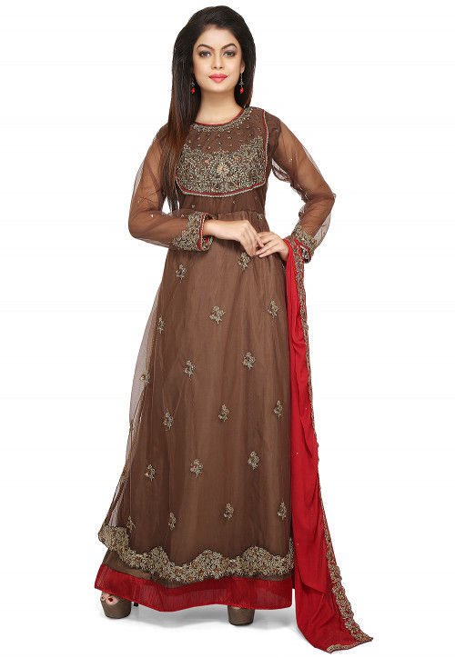 Embroidered Net Abaya Style Suit in Brown