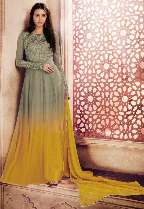 Embroidered Net Abaya Style Suit in Dusty Olive Green and Yellow
