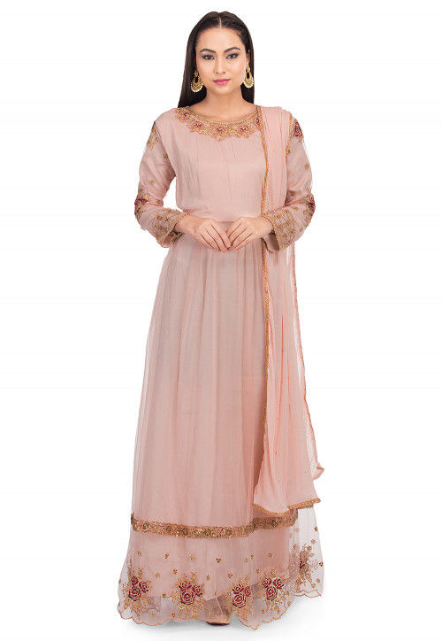 Embroidered Net Abaya Style Suit in Dusty Pink